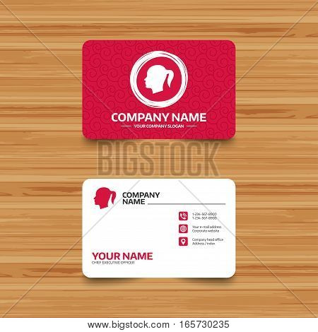 Business card template with texture. Head sign icon. Female woman human head with pigtail symbol. Phone, web and location icons. Visiting card  Vector