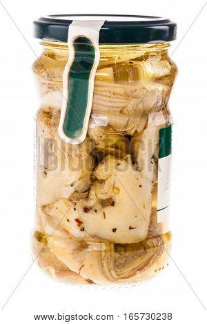 Artichokes Jar On White