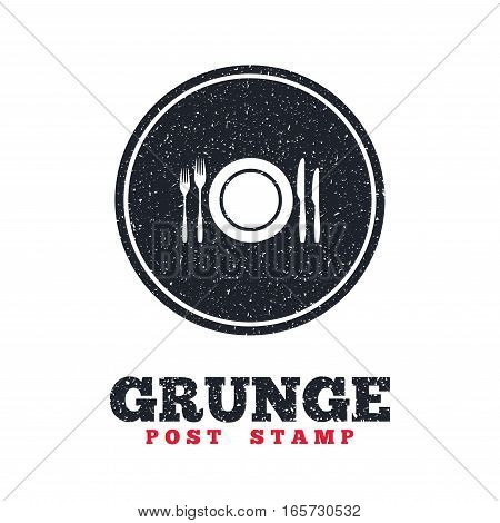 Grunge post stamp. Circle banner or label. Plate dish with forks and knifes. Eat sign icon. Cutlery etiquette rules symbol. Dirty textured web button. Vector