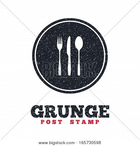 Grunge post stamp. Circle banner or label. Fork, knife, tablespoon sign icon. Cutlery collection set symbol. Dirty textured web button. Vector