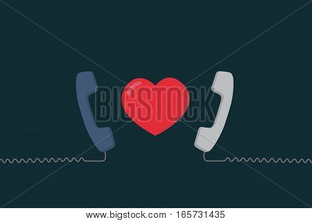 Long Distance Relationship Illustration, Love talking, love call