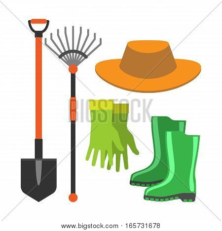Rake and shovel garden farm equipment logo, organic concept. Gardening tools icon flat graphic design agriculture symbol vector illustration.