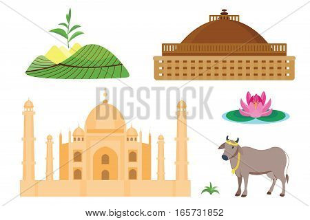 India landmark global travel and journey infographic vector design template. Traditional beautiful facade culture asia architecture symbol. Detailed east building icons.