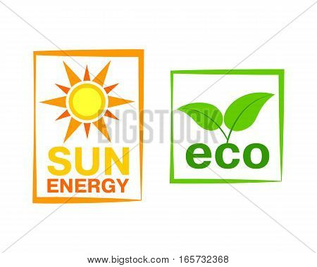 Sun energy icon nature industry vector illustration. Solar symbol power business abstract design sign. Element environment electricity modern graphic.