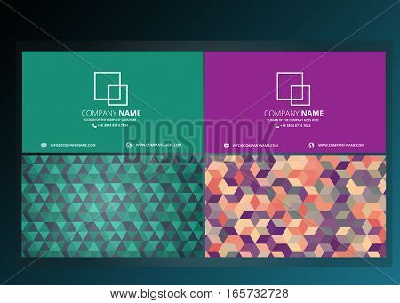 COMPANY NAME CARD WITH POLYGONAL TEMPLATE BACKGROUND