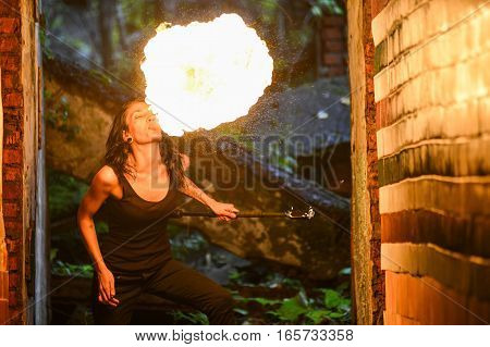 fire show Fire Breather Large Plume Of Flame the girl