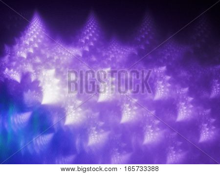 Interconnected, purple fractal shapes in swirling patterns.
