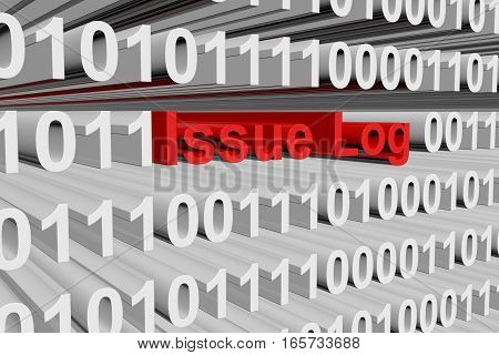 Issue Log in the form of binary code, 3D illustration
