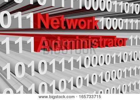 network administrator in the form of binary code, 3D illustration