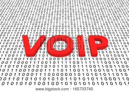 VOIP in the form of binary code, 3D illustration