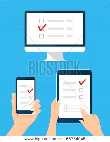 Online survey, checklist set. Hand holds tablet, computer, mobile and finger touch blank screen. Feedback business concept. Cartoon flat vector illustration for web site, mobile app