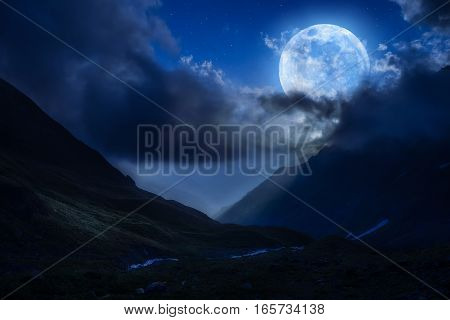 Night Landscape With Mountains And Stars