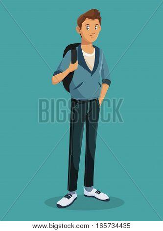 teen boy standing with jeans tennis rucksack vector illustration eps 10
