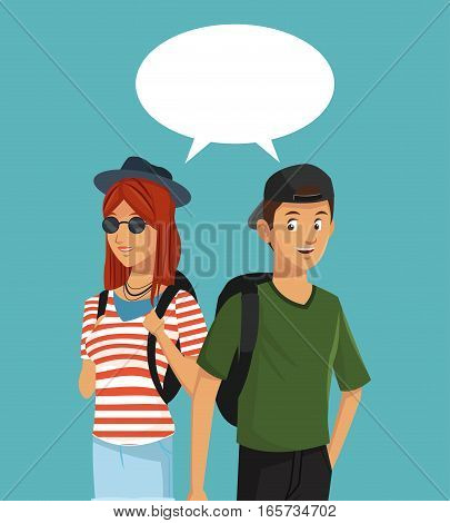 teens boy and girl talking bubble speech vector illustration eps 10