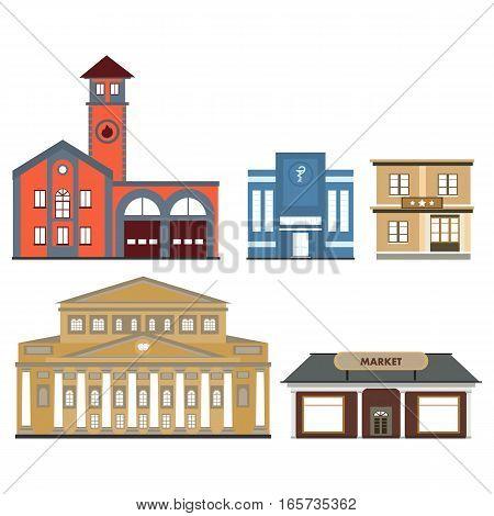 set of public buildings in vector format eps10