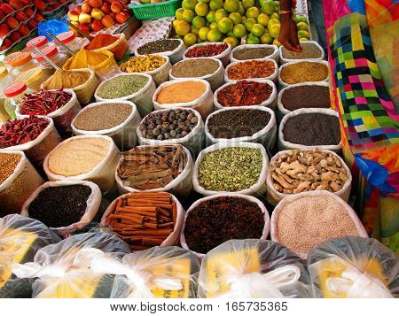 Various indian colorful powder spices on the market in India