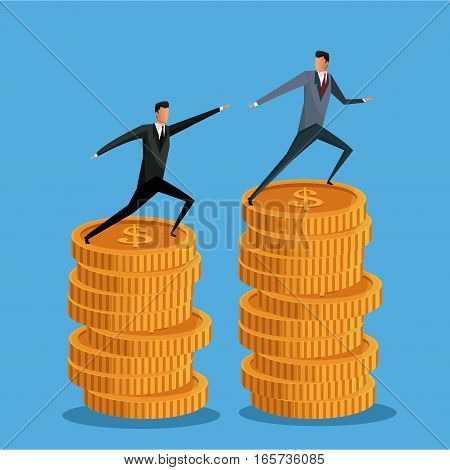men business on pile coin growth collaboration vector illustration eps 10