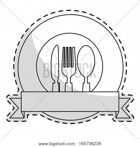 emblem with silverware over white background. vector illustration