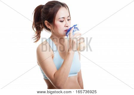 Beautiful Asian Healthy Girl Drinking Whey Protein.
