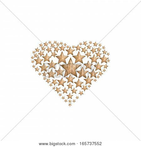Heart consists of gold stars. Composition in a heart shape, which consists of gold stars. Heart shape consist of many golden stars. Vector illustration
