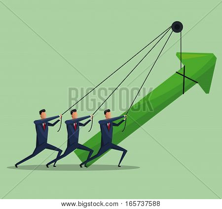 men teamwork business growth arrow vector illustration eps 10