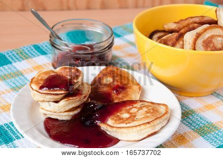 Delicious Pancakes For Breakfast With Cherry Jam