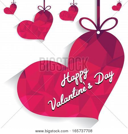 Pink heart with Happy Valantines Day Card and ribbon on white background.