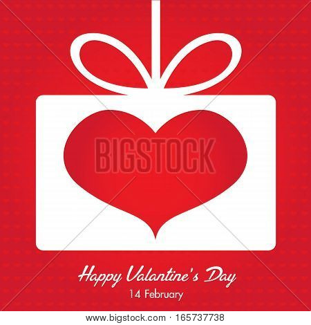 White love letter and Red heart on red heart background.