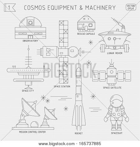 Vector thin line set of space equipment machinery. Observatory rescue capsule lunar rover space city station satellite mission control center rocket spacesuit. For poster website postcard.