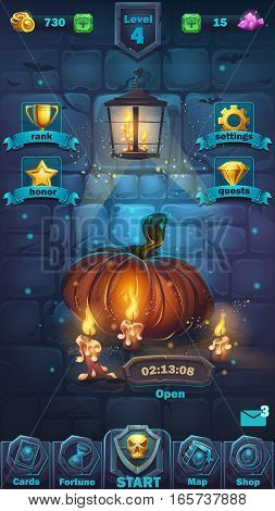 Monster battle GUI playing field - vector cartoon illustration game user interface - background horrible Halloween wall with pumpkin playing field
