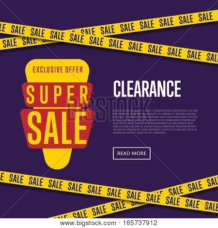 Super sale website template vector illustration. Price clearance banner, exclusive offer promo, advertisement retail flyer, exclusive price ad, special discount. Modern graphic style sale concept