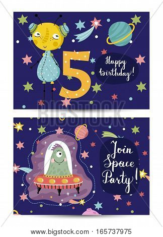 Happy birthday cartoon greeting card on space theme. Cute aliens on flying saucer, colorful stars, planets, digit five vector illustration on blue background.