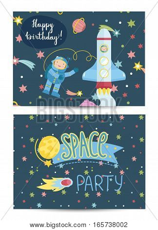 Happy birthday cartoon greeting card on funny space. Rocker with astronaut flying in cosmos among stars and planets vector. Invitation on childrens costumed party. Greeting card for kids. Cartoon space on happy birthday greeting cards. Invintation design