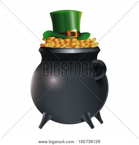 leprechaun hat on pot gold coins  background vector illustration eps 10