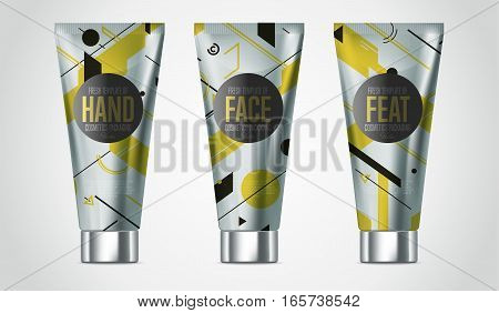 Realistic face or body beauty care cosmetic product plastic container vector. Cleanser, lotion, tonic, cream tube. Cosmetic packaging template. Cosmetic beauty products. 3d cosmetic bottle. Plastic cosmetic bottle. Body care professional series cosmetic