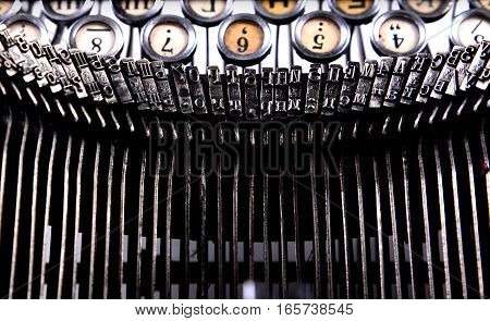 Keyboard and small parts of a typewriter