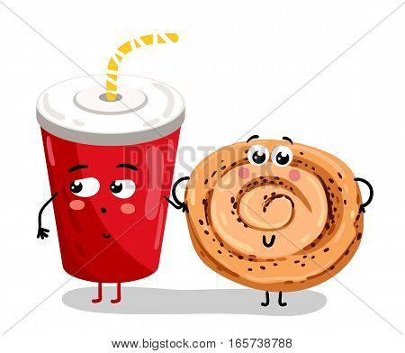Cute take away glass with straw and cookie cartoon character isolated on white background vector illustration. Funny sweet drink and pastry bakery emoticon face icon. Comical cartoon food emoji mascot
