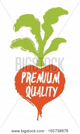 Premium quality text on radish silhouette hand drawn label isolated vector illustration. High standard choice symbol. Premium quality product hand sketch badge, icon, logo. Natural organic farming