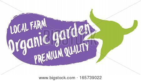 Organic garden label with eggplant silhouette hand drawn isolated vector illustration. Natural farming symbol. Premium quality eco product hand sketch badge, icon. Local farm, organic garden logo.