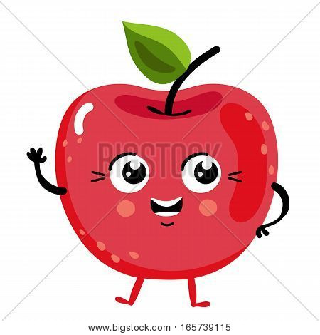 Cute fruit cherry cartoon character isolated on white background vector illustration. Funny positive and friendly cherry emoticon face icon. Happy smile cartoon face food emoji, comical fruit mascot