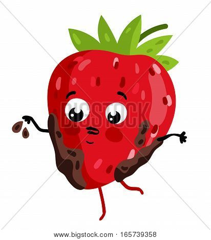 Cute fruit strawberry cartoon character isolated on white background vector illustration. Funny positive and friendly strawberry emoticon face icon. Happy smile cartoon face food emoji, comical fruit