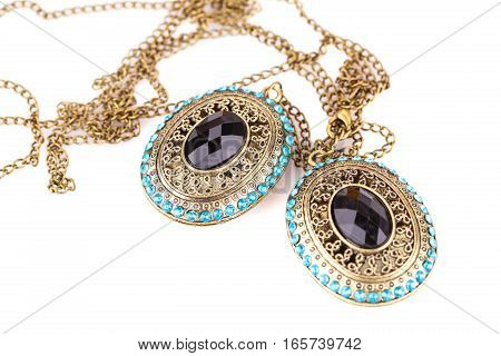 Ancient style necklaces isolated on a white background.
