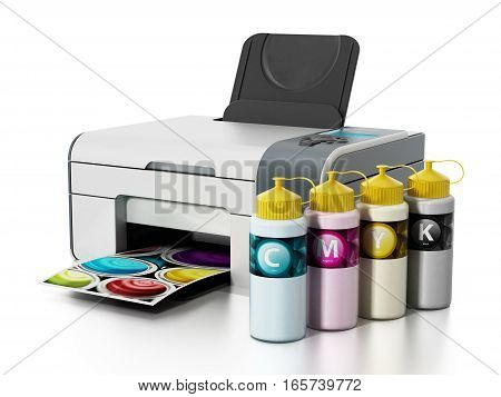 CMYK ink filling bottles and inkjet printer isolated on white background. 3D illustration.