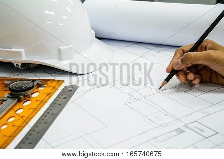 Engineering and architecture drawings, Architectural plans with drawing equipment