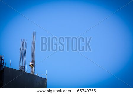 Construction Worker Working In Construction Site Building Industry