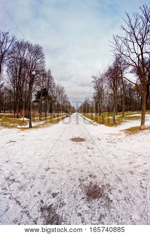 The paths in the Kadriorg park in Tallinn Estonia are especially straight. Peter The Great designed the park himself to show the Germans how the parks should be designed.