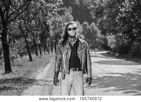 Portrait Of A Young Biker Man
