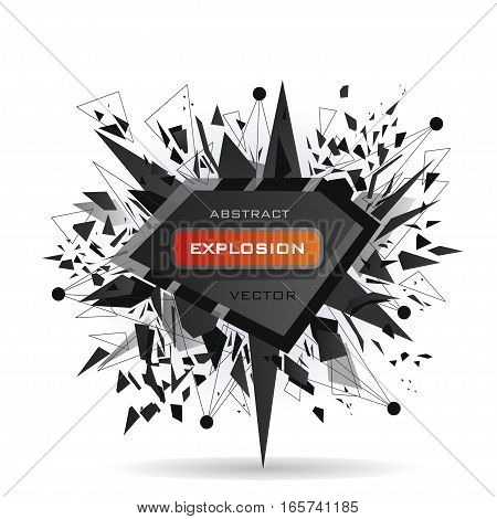 Abstract modern vector explosion banner. Black triangles lines points connected by the middle with red inscription.