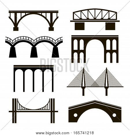 Set of eight stylized images of bridges. Black silhouettes of bridges of different styles on a white background. arch cable-stayed hanging rail bridges viaduct.