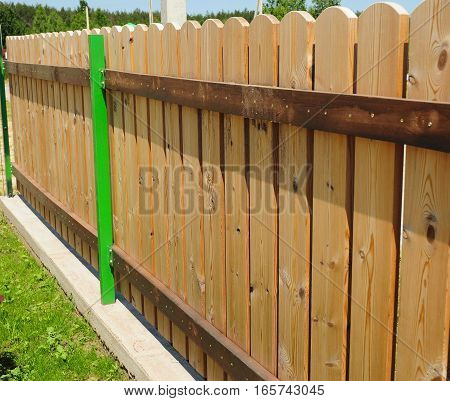 Wood picket fence details. Traditionally picket fences were made out of wood and painted white (or whitewashed) but now picket fences are also widely available in polyvinyl chloride.